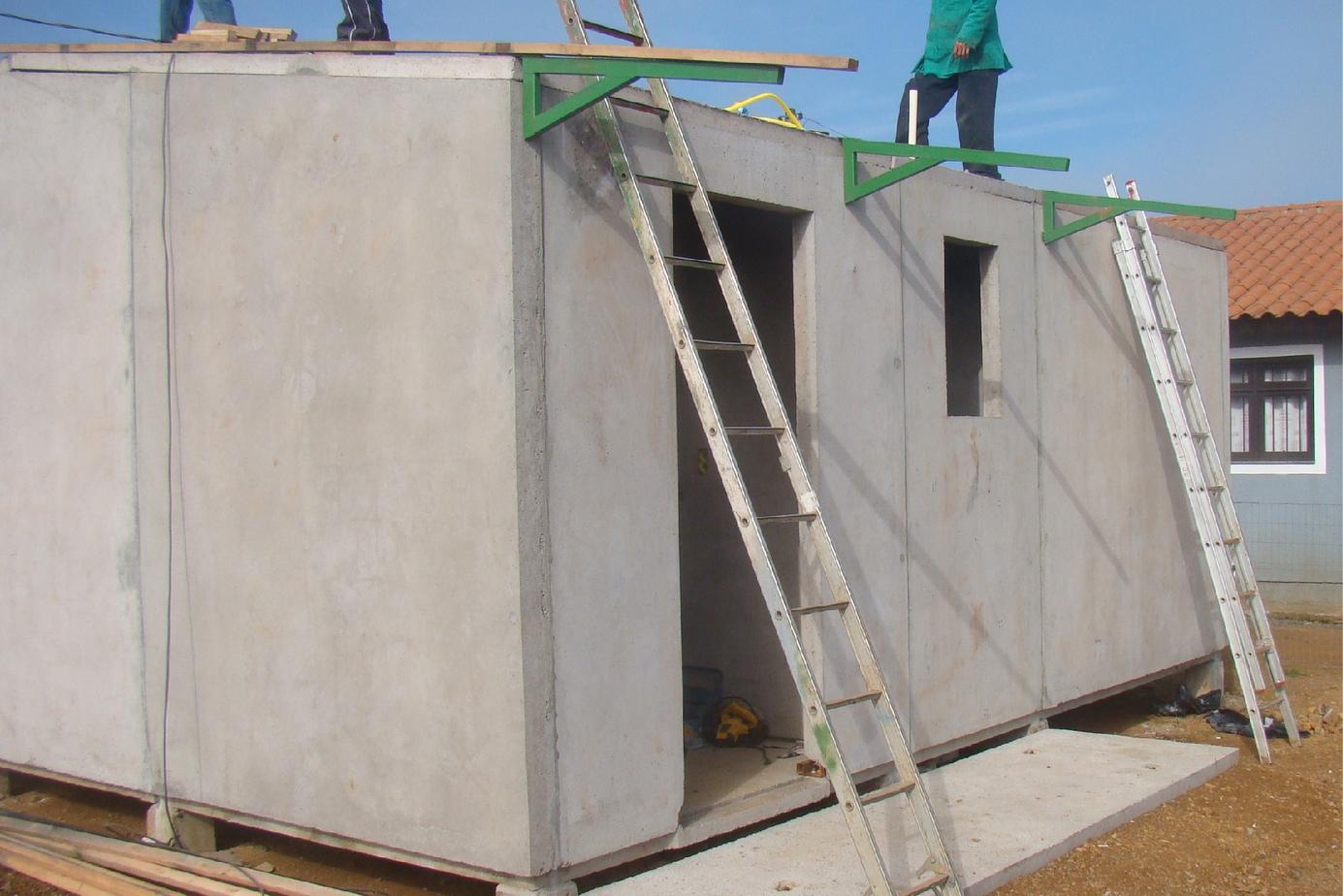 Colocação da estrutura da área de serviço